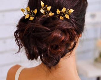 Wedding hair pin Gold leaf hair clip Ivory bridal crystal hair pin Jewelry sets Wedding accessories Wedding hair clip gold Bridal fascinator