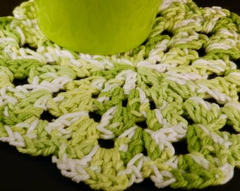 Cotton Dishcloth, Crocheted Dishrag, Green and White, Kitchen Cleaning, Eco Friendly Clean, Housewarming Gift