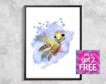 Squirt Watercolor Print Finding Nemo Art Print, Poster Kids Room Decor Squirt Turtle Nemo Turtle Wall Art Home Decor digital download