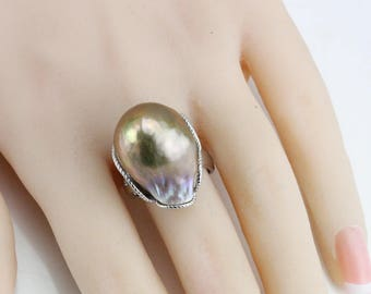 Large baroque pearl ring,16mm natural metallic color freshwater pearl ring,big size pearl ring,silver open ring,unique ring,unique gift