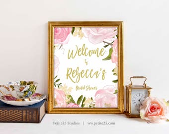 Pink Peony Bridal Shower sign, Welcome sign, 8x10 sign, gold text, pink gold welcome sign printable