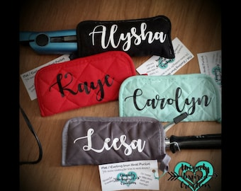 Personalized Curling Iron / Flat Iron Travel Heat Pocket, Personalized gift, Travel Case, Heat Protective case, Curling Iron Holder, Gift