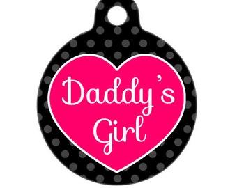Pet ID Tag - Daddys Girl Pet Tag, Dog Tag, Cat Tag, Bag Tag, Child ID tag