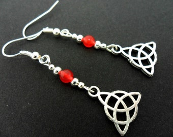 A pair of tibetan silver & red jade bead celtic knot dangly earrings. new.