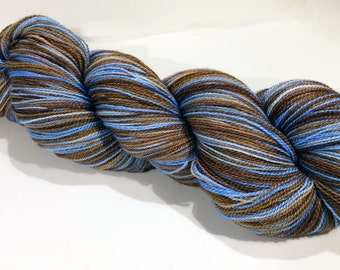 Handdyed Merino/Silk Laceweight Yarn - Shiver Me Timbers - brown, tan, blue, ice - Enamored