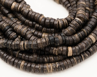 Brown Coconut  Beads, 8mm, Tan, 15 Inch Strand, Disc Beads -B2261