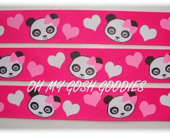"PANDA ACADEMY HEART 7/8"" - 5 Yards - Oh My Gosh Goodies Ribbon"