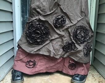 Slanted Swirly Scrunch Skirt S