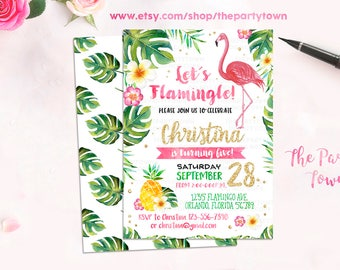 Flamingo Invitation, Pineapple Birthday party Invitation, Tropical Party Invitation, Girls Summer Invitation, Pineapple Flamingo Party