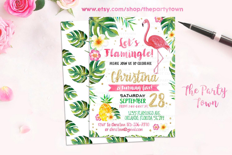 Flamingo Invitation Pineapple Birthday party Invitation