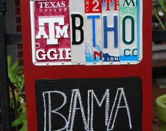 Texas A&M Aggies BTHO license plate sign with chalkboard, Gig'em, Aggie football, tailgate sign, graduation gift, Aggie chalkboard