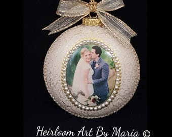Personalized Wedding Gift-Wedding Ornament-Custom Picture Ornament-Wedding Gifts-Our First Christmas Together-Couples Ornament-Christmas