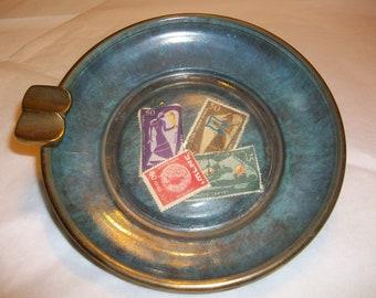 Vintage Brass and Glass Ashtray  Circa 1950-60  bx2  116642230