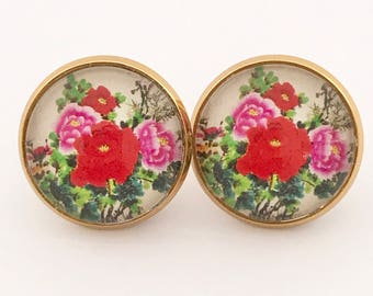 Cherry Blossom, Earring, Blossom Earrings, Flower Earrings, Sakura Earrings, Cherry Blossoms, Floral, Flower, Red, Japanese, Stud, Post