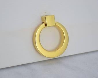 Polished Gold Ring Drawer Knobs, Brass Ring, Drawer Pull, Cabinet Pull, Cabinet Knobs