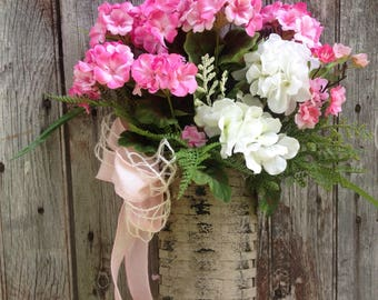 Geranium Basket, Summer Door Basket, Front Door Decor, Spring Wreath  Alternative SALE