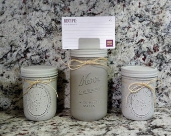 Mason jar kitchen set, Recipe card holder, Clearance