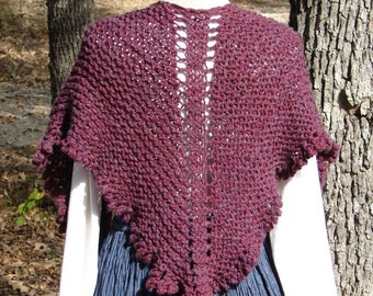 Pattern for Top Down Shawl made with bulky yarn and US 13 knitting needles, Terrific Shoulder Shawl