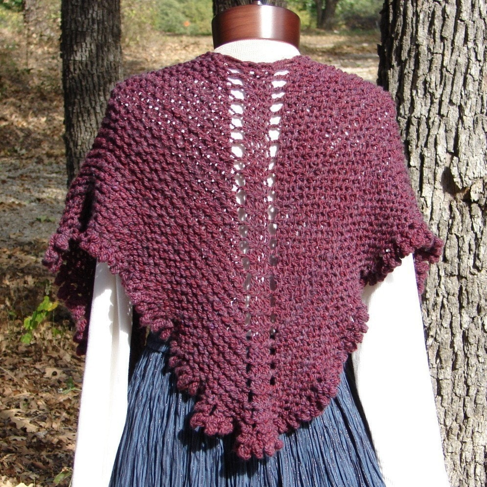 Pattern for Top Down Shawl made with bulky yarn and US 13