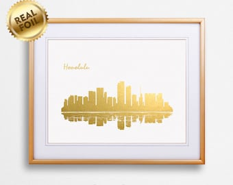 Honolulu City Skyline Gold Print, Real Gold Foil Print, Honolulu City Poster, Honolulu Wall Art, Honolulu City Print, GoldenGraphy