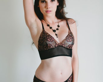 SALE Sheer Bra - Richly Embroidered Brown and Black Mesh 'Rosa' Bra - Made To Order Lingerie