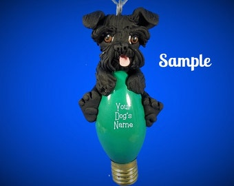 Black Schnauzer Dog natural Ears Christmas Light Bulb Ornament Sally's Bits of Clay PERSONALIZED FREE with dog's name