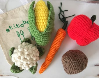 Crochet Food, Crochet Vegetable Play Set, Play Food, Crochet Veggies, Crochet Food Toy