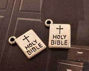 10 antique silver holy bible charms charm pendant pendants  (X01)