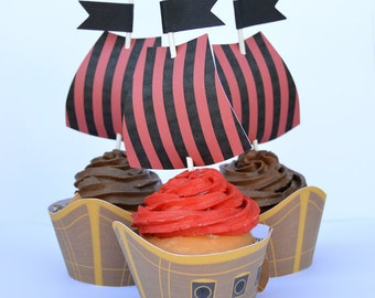 Cupcake Wrappers, Cupcake Toppers, Pirate Ship and Sails, set of 12, Treasure, Boat, Pirate Birthday Party, Choose Just Sails,