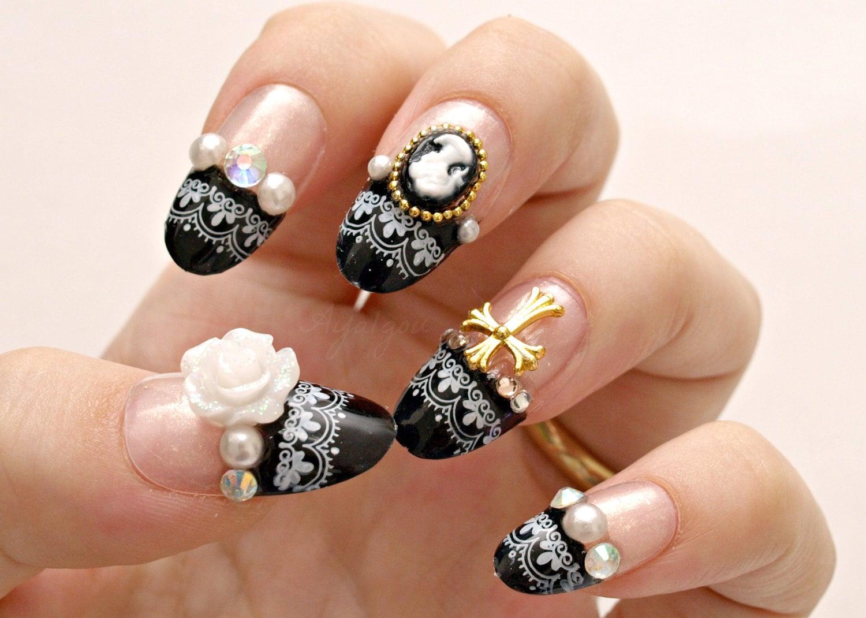 3D nails gothic lolita lolita nails egl Japanese nail art