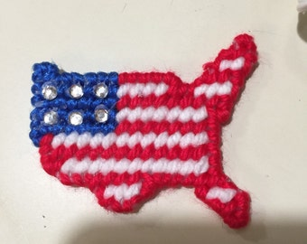 USA magnet plastic canvas done with rhinestones