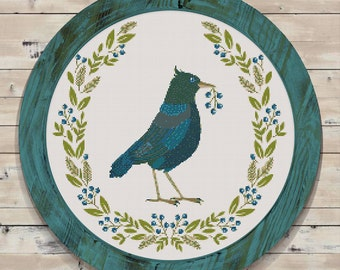 Bird Wearth Modern Counted Cross Stitch Pattern // Instant PDF Download