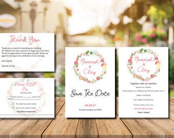 Printable Modern Wedding Invitation Set
