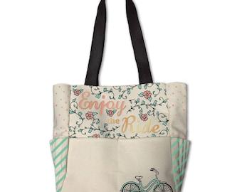 Planner Storage Tote Bag by Recollections - C'est La Vie / Enjoy The Ride - Planner Accessories Storage Tote/Planner Bag