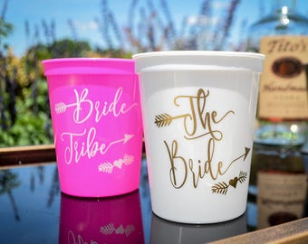Bride Tribe Cups, Bachelorette Bash Cups, Bride Cups, Arrow Cups, Bachelorette Party Cups, Bachelorette Party Favors, Party Cups - SET of 10