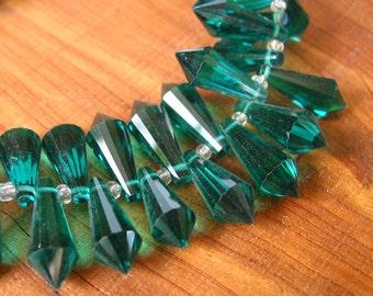 10pcs Emerald Green 20mm designer crystal glass teardrop prism briolette drop Beads faceted