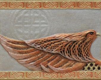 Celtic Falcon - Cast Paper - Zoomorphics - Irish falcon- Irish art - Celtic art - Scottish art - Celtic knot