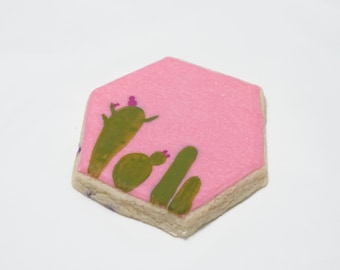 Cactus / Succulents Hexagon Geometric Sugar Rolled Decorated Cookies