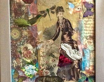 Original Collage French Fashion Statement,  Art, mixed media, butterflies, Spring, painting, French Art, Parisian, Mode, Paris à la mode,