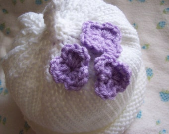 Toddlers Sweet Pixie Hat with Flowers White hat and Lavendar flowers great photo prop