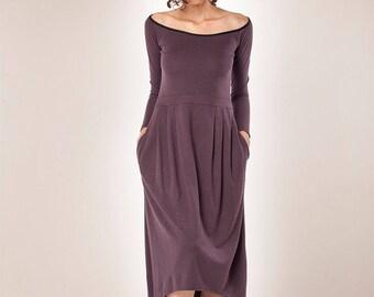Women Dress/ Long Sleeves Dress/ Midi Dress/ Winter Dress/ Womens Dress/ Cocktail Dress / Maxi Dress/ Purple Dress