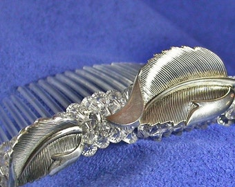 Sterling Silver Leaf and Swarovski Crystal Bridal Comb made from Vintage Beau Brooch, Earrings