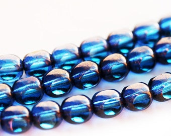 6mm Sapphire Blue Lustered czech glass beads, Fire polished round cut beads - 30Pc - 0276