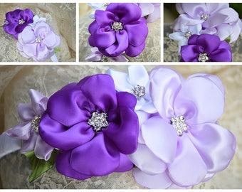 Wedding Headband, Children Headband, Girl Flower Headband, White Headband, Purple Satin Flower, Hair Accessory, Lavender Satin Flower