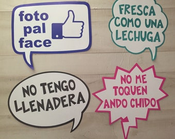 Selfie Photobooth Photo props Signs in Spanish Facebook Pack of 8