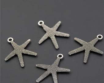 30pcs Antique Silver Starfish Charms Pendant A2305