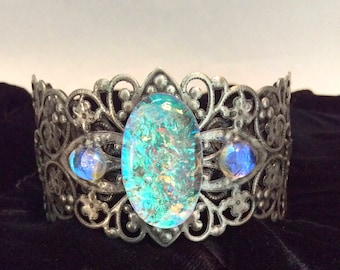 Fused dichoric glass and metal bracelet