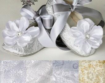 Silver Baby Ballet Slipper, Toddler Flower Girl Shoe in Gold, Ivory, White, Pink, Christening, Little Girl Wedding Shoe, Dance, Baby Souls