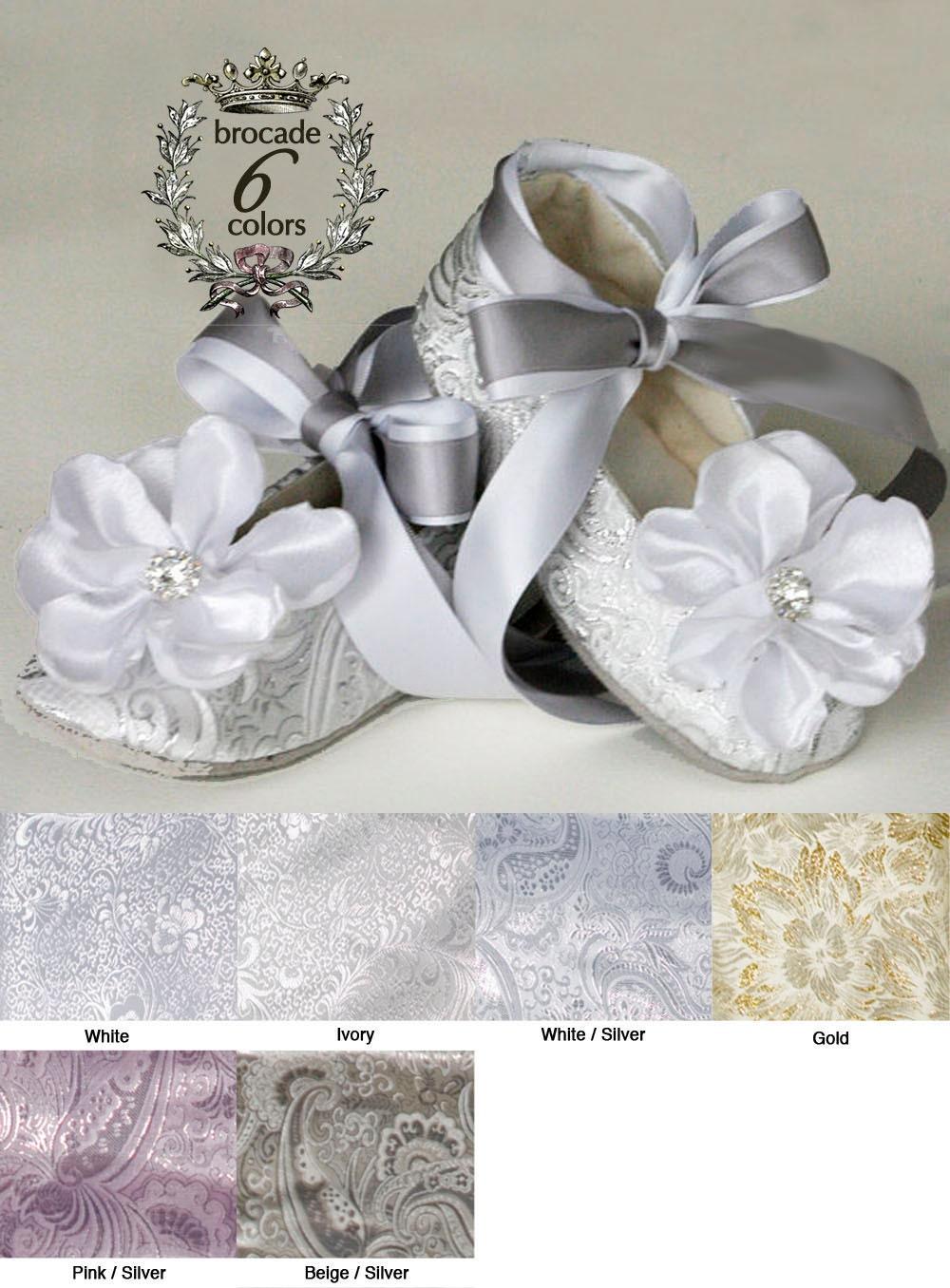Silver Baby Ballet Slipper Toddler Flower Girl Shoe in Gold