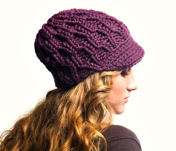 Womens Purple Newsboy Hat - Amsterdam Cable Beanie Visor in Fig Purple - Purple Hat Fall Fashion Winter Hat Knit Accessories